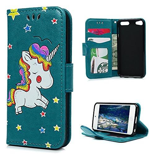 SUPWALL Coque iPod Touch 5 Etui Protecteur en Cuir PU avec TPU Silicone Housse avec Stand Support et Carte de Crédit Slot Licorne d'impression - Bleu