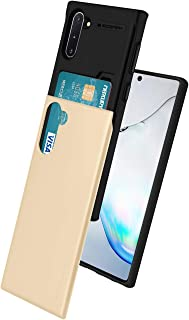Goospery Sky Slide for Samsung Galaxy Note 10 Case (2019) Dual Layer Bumper Cover with Card Holder Wallet (Gold) NT10-SKY-GLD