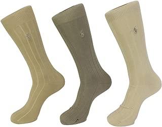 mens socks Dress Mercerized Rib Cotton khaki asst. 3pairs