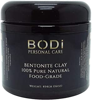 BODi : BENTONITE CLAY (16 oz Jar) 100% Pure Extra Fine Powder - Food-Grade - Excellent Cleanse