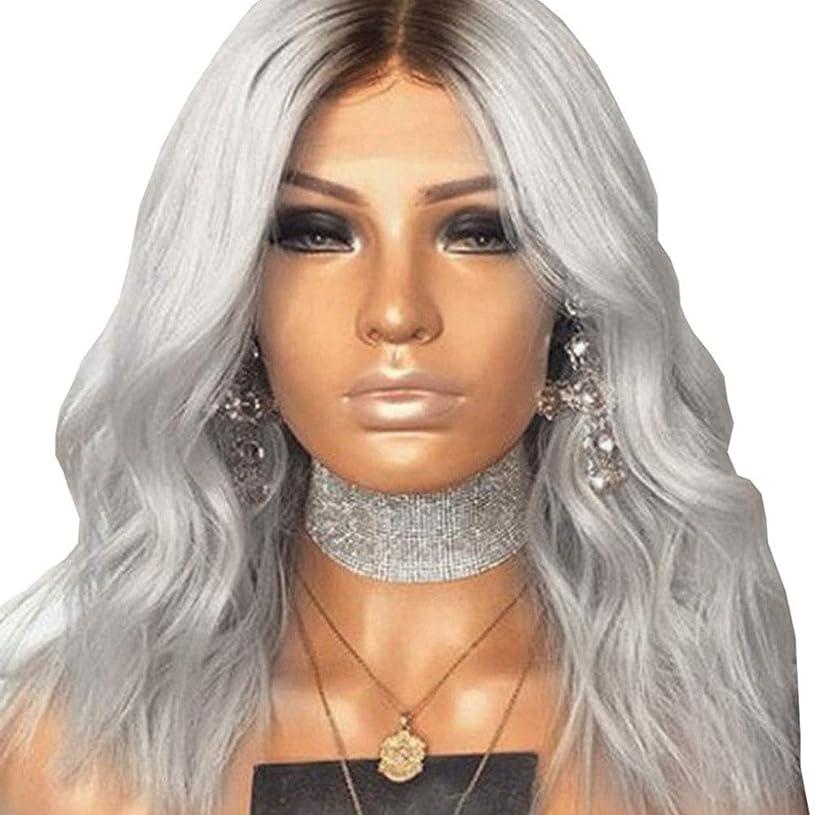 ブーム屋内蛾Yrattary ブラウングラデーションシルバーロングヘアマイクロかつら女性用デイリードレス人間の髪の毛のかつら、合成髪レースかつらロールプレイングかつら (色 : Silver)