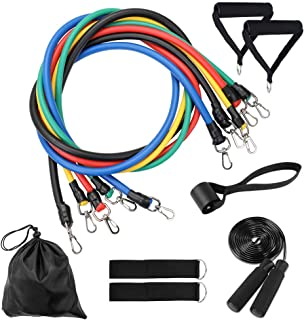 Resistance Bands Set 12pcs, Exercise Workout Bands Sets with 5 Stackable Resistance Bands,Handles,Door Anchor,Ankle Straps,Skipping Rope,Waterproof Carry Bag for Outdoor Gym Home Training Yoga