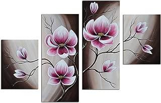 Noah Art-Rustic Floral Art, Spring Blooming Tulips Flower Artwork 100% Hand Painted Modern Flower Oil Paintings On Canvas, 4 Panel Framed Purple Flowers Wall Art for Bedroom Home Decor