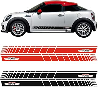 2pcs Side Skirt Door Decal Sticker for MINI John Cooper Works R56 F56 JCW Graphics Stripes Stickers Car Styling (BLACK)