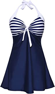 ninovino Women's Vintage Sailor Stripes Pin up Swimsuit One Piece Swimwear Cover up Swimdress
