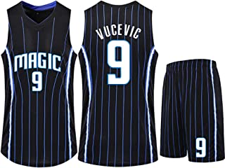 Men's Basketball Shirt, Suitable for Striped Fans Basketball Wear Magic Vucevic 9, Sleeveless Breathable Quick-Drying