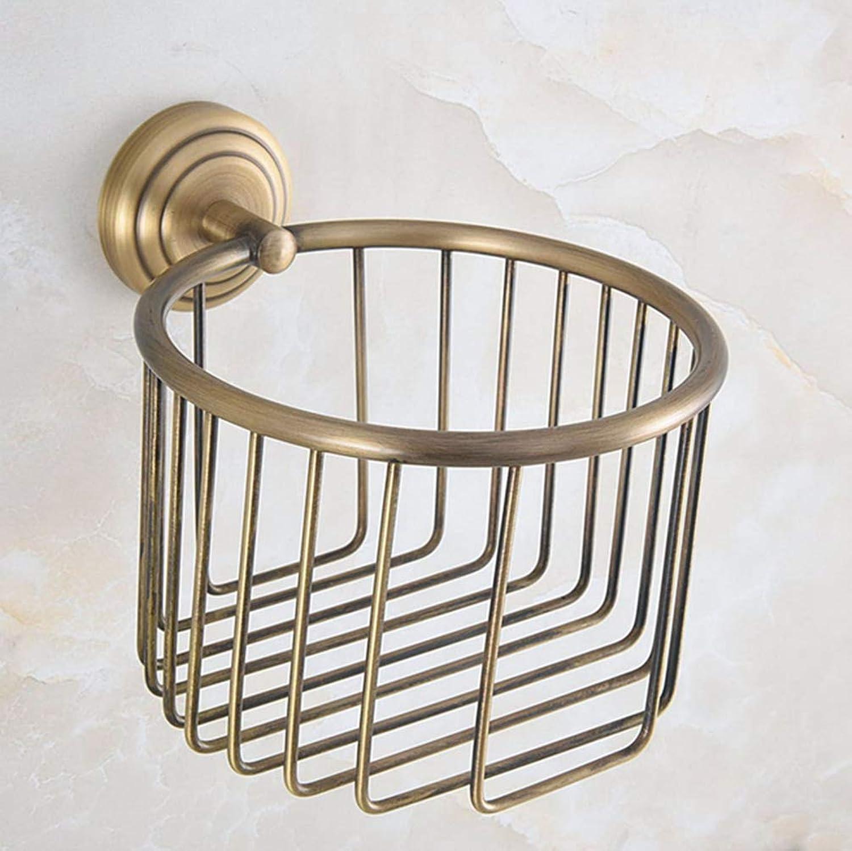 LUDSUY Bathroom Accessories Vintage Retro Antique Brass Circle Pattern Wall Mounted Bathroom Toilet Paper Roll Basket Holder Bathroom Accessory