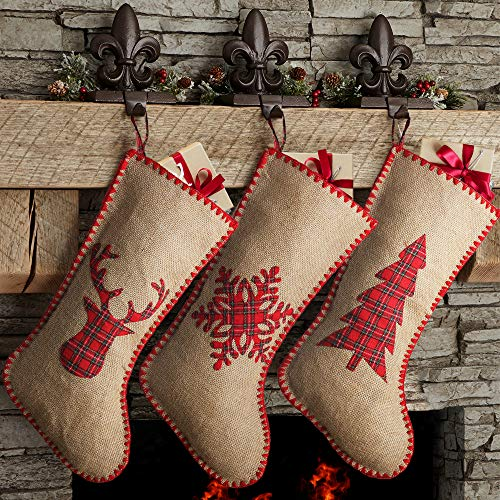 Meriwoods Burlap Chirstmas Stockings, 18 Inches 3 Pack Rustic Farmhouse Xmas Stockings, Holiday Decorations for Family Home with Embroidered Plaid