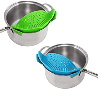 WeTest 2 Pack Heat Resistant Silicone Pot Strainer, Clip on Pots Pans, Pan Strainer for all Pots and Bowls - Blue/Green (L...