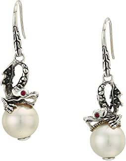 Legends Naga Lava Dragon Drop Earrings with Fresh Water Pearl, Black Sapphire and African Ruby Eyes