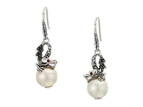 John Hardy Legends Naga Lava Dragon Drop Earrings with Fresh Water Pearl, Black Sapphire and African Ruby Eyes