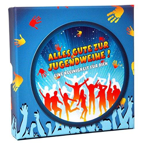 Feste Feiern zur Jugendweihe I Geschenkschachtel Party Splash 10,5x10,5cm I Geldgeschenke Gutscheine Schmuck
