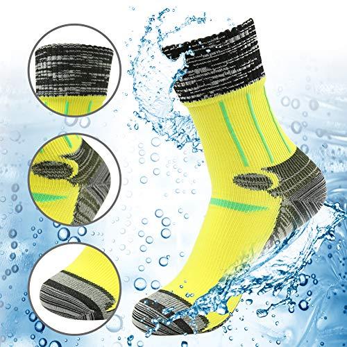 100% Waterproof Golf Socks, RANDY SUN Men's Sports Lifestyle Crew Cut Socks Yellow Black Grey Size Medium