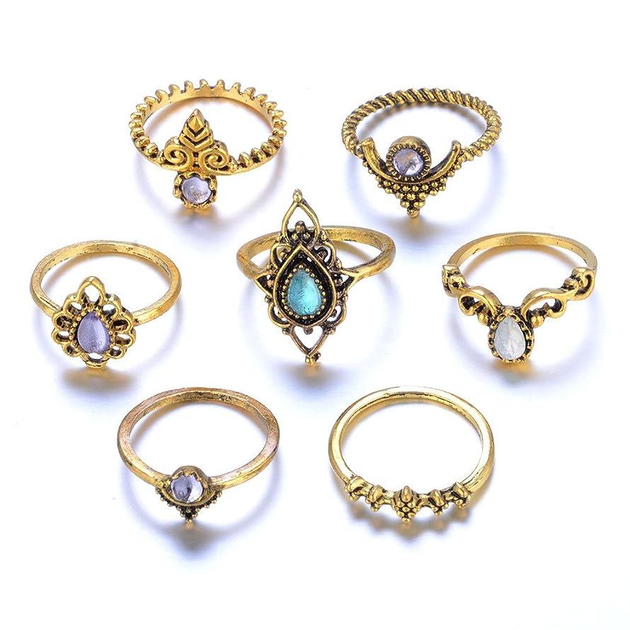 Kiranly Rings,7pcs/Set Simple Bohemian Vintage Silver Stack Rings Band Toe Ring Adjustable