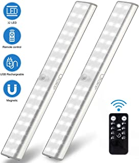 Litake Wireless Under Cabinet Lighting Rechargeable,32 LED Remote LED Closet Wardrobe Shelf Lights, Dimmable Stick On Under Counter Lighting,Battery LED Cabinet Lights for Kitchen,2 Packs
