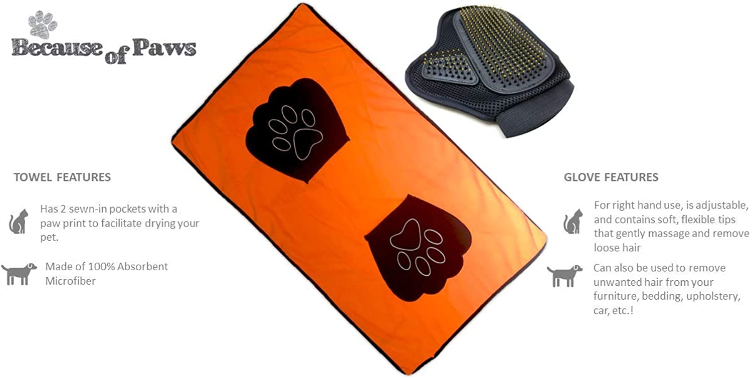 Because of Paws Pet Grooming Massage Brush and Microfiber Towel with Paw Shaped Pocket  Ideal for Small to Medium Dogs and Cats