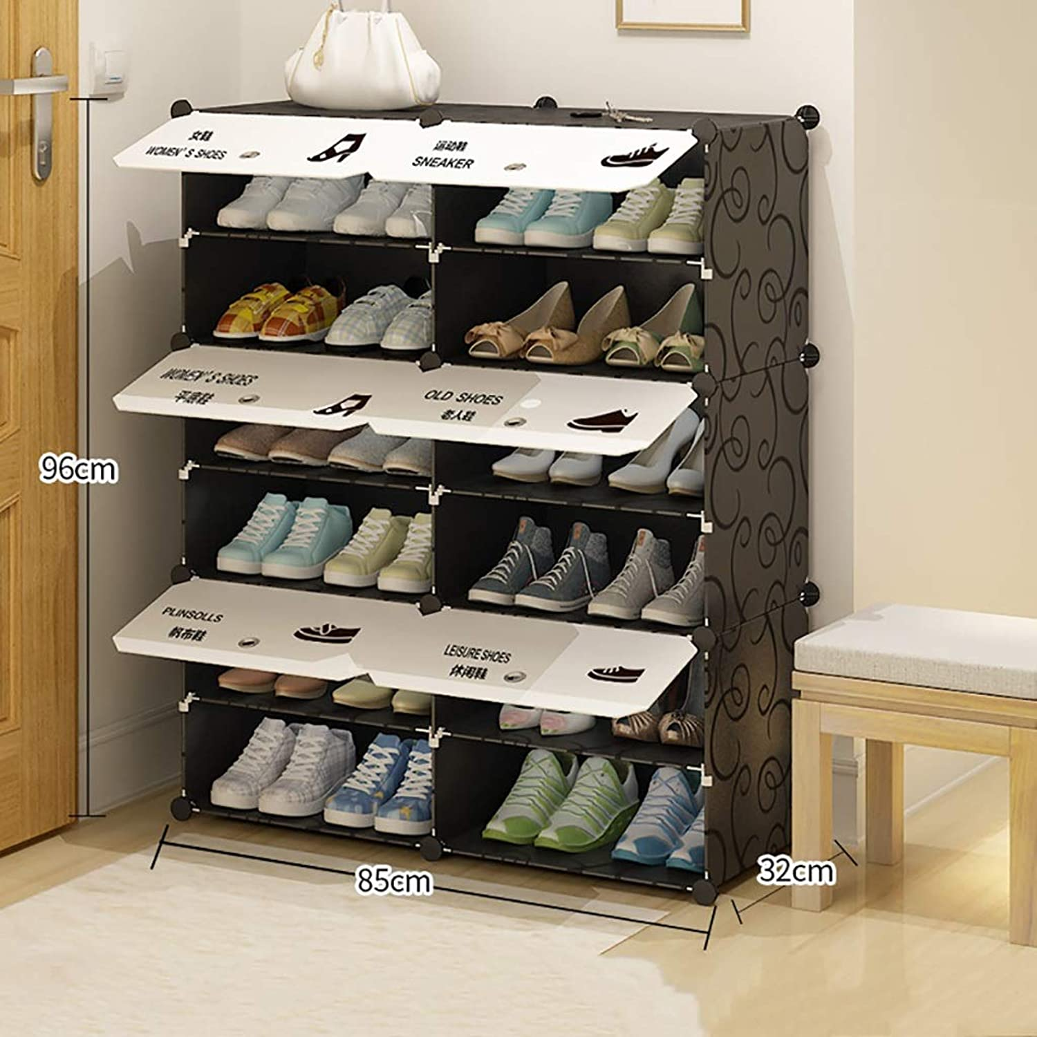6 8 10 Layer shoesbox shoes Rack Shelf Storage Rack Small shoes Shelf Multifunction Dorm Room Household Doorway Space Saving (Size   85  32  96cm(1))