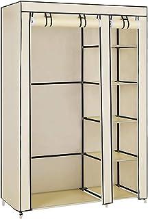 SONGMICS Armoire de Rangement, Penderie de vêtement Pliable en Tissu Non-tissé, 110 x 45 x 175 cm, Beige LSF007M