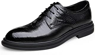 Leather Business Oxford for Men Embossed Wedding Shoes Lace up Genuine Leather Round Toe Burnished Style Rubber Sole shoes (Color : Black, Size : 39 EU)