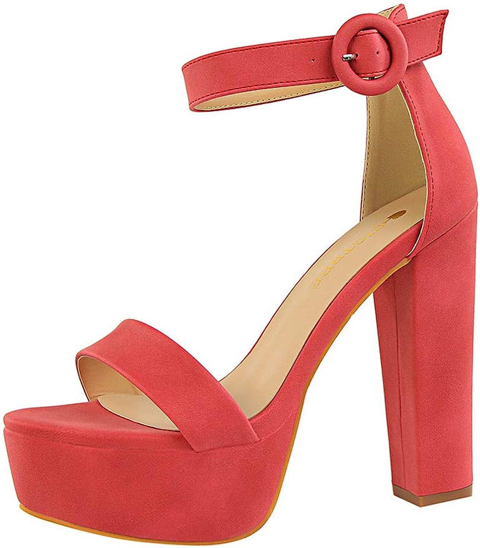 Sandals Thick with Thin high Heels Sexy Nightclub Women's shoes Waterproof Platform Open Toe Belt Buckle Sandals,F,35