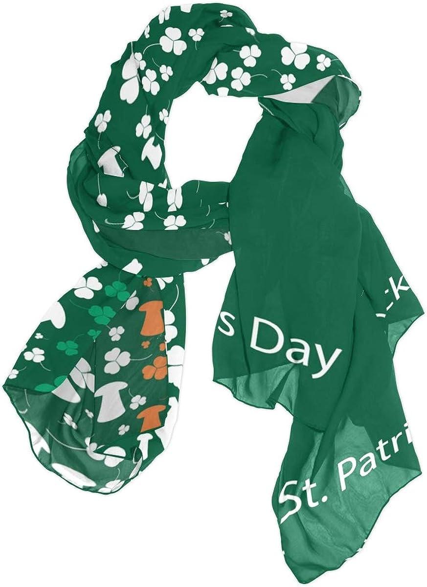 AUUXVA Fashion Scarf Happy Saint Patrick's Day Clover Hat Long Lightweight Sunscreen Scarf Shawl Wrap Muffler Neckerchief for Women Men