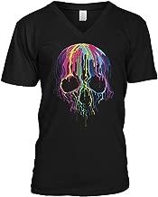 Blittzen Mens V-Neck T-Shirt Melting Skull