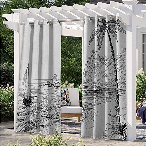 Adorise Outdoor Waterproof Curtain Sea Coast Beach with Palm Tree Boat and Hills Exotic Holiday Vacation Blackout Patio Outdoor Curtains for Keep Your Porch Much Cooler White W120 x L96 Inch