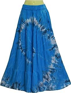 ATM Bohemian Gypsy Boho Maxi Elastic Waist A-line Long Skirt Handmade Tie dye Plus Size