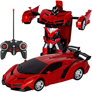 RC Cars Robot for Kids Transform Robot Remote Control Car Toy, One-Button Deformation Car Model Toy 1:18 Transformation Re...