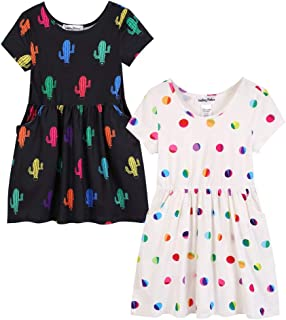 SMILING PINKER Girls Unicorn Dress 2-Pack Short Sleeve Casual Dresses with Pockets