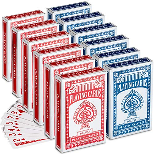 Playing Cards - (Pack of 12) 3.5 Inch x 2.25 Inch Decks of Playing Cards, Travel Size, Bridge, Solitaire or Poker Cards or Novelty Gift Idea, Party Favor for Kids, Boys and Girls