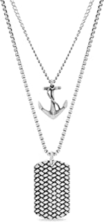 Men's Oxidized Anchor and Textured Dogtag Pendant Double Strand Chain Necklace Set in Stainless Steel, Silver, 28