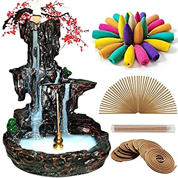 Jutoe Incense Backflow Burner,Waterfall Incense Holder,Incense Fountain Mountain Tower Aromatherapy Ornament,150 Incense Cones,50 Coils,30 Incense Stick,Mat&tweezer for Home Yoga