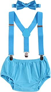 Newborn Baby Boys 1st/2nd Birthday Cake Smash Photo Props Outfit Bloomers Y Back Suspenders Bowtie 3pcs Clothes set