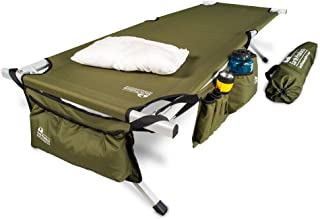 """EARTH Ultimate """"Extra-Strong"""" Military Style Camping Cot, 5-YEAR WARRANTY, w/Free Side Storage Bag System and Pillow"""