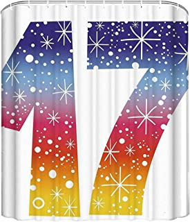 YOLIYANA 17th Birthday Decorations Useful Shower Curtain,Rainbow Colored Seventeen Party with Fireworks Polka Dots Print for Indoor,70 '' W x72''H