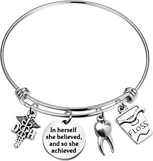 Zuo Bao Dentist Gift New Dental Graduate Jewelry in Herself She Believed and So She Achieved Dentist Symbol Charm Jewelry Keychain Gift for Dentist Dental Student