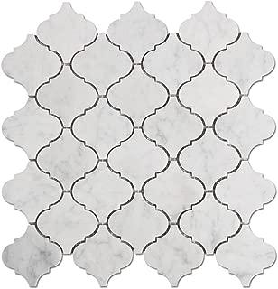 Diflart Italian White Carrara Marble Mosaic Tile Polished Pack of 5 (Arabesque)