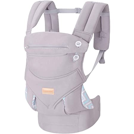 Infant Baby Holder Carrier Backpack Ergonomic with Head Support Padded Shoulder Straps Front and Back for Newborn Toddler Wrap in All Season,Grey