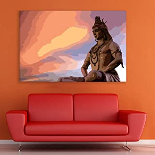 Inephos Unframed Canvas Painting - Beautiful Lord Shiva Art Wall Painting for Living Room, Bedroom, Office, Hotels, Drawin...