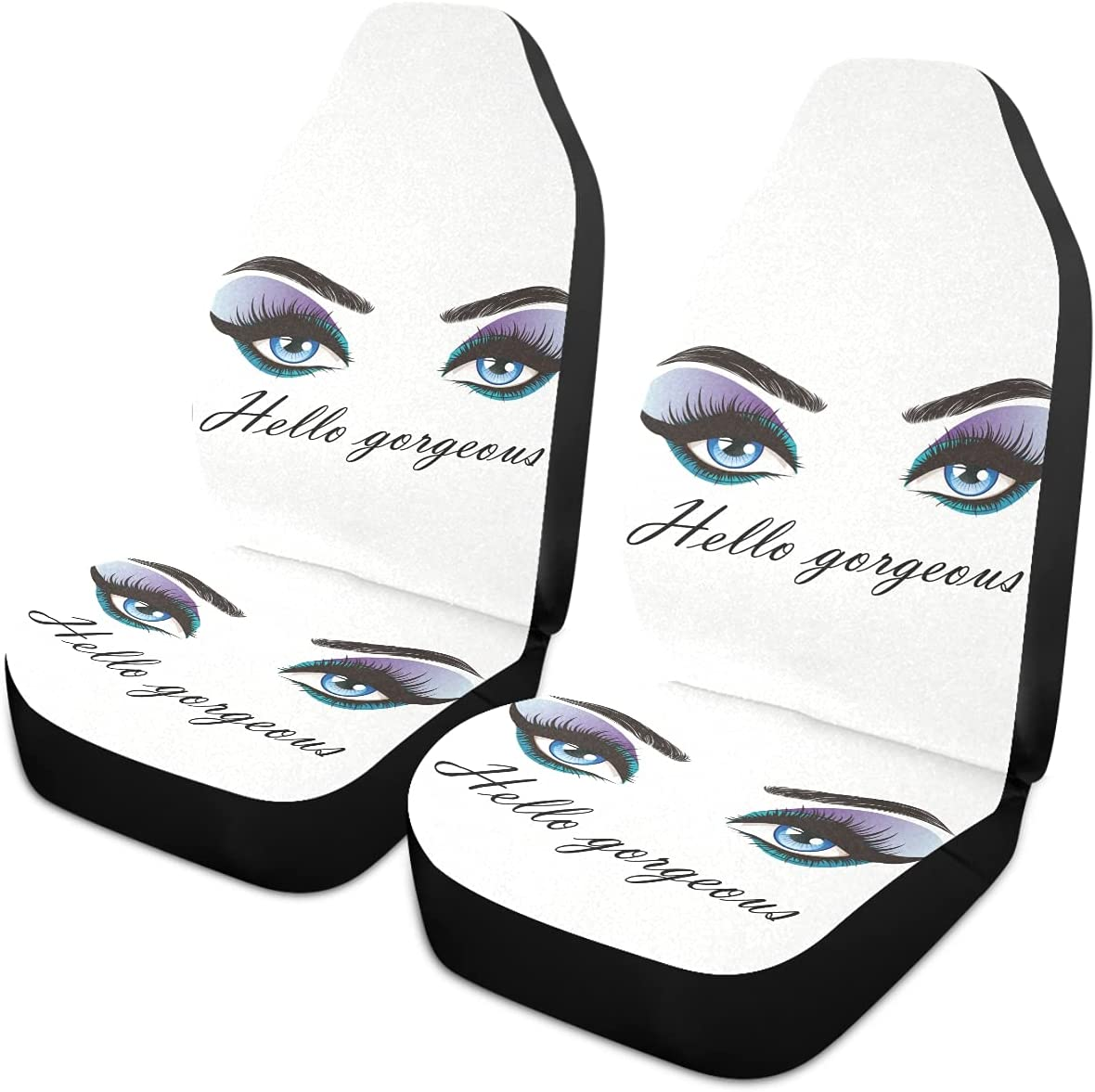 Special price Oarencol Hello Gorgeous Car Seat Blue Covers Women specialty shop Eyelash Eyes