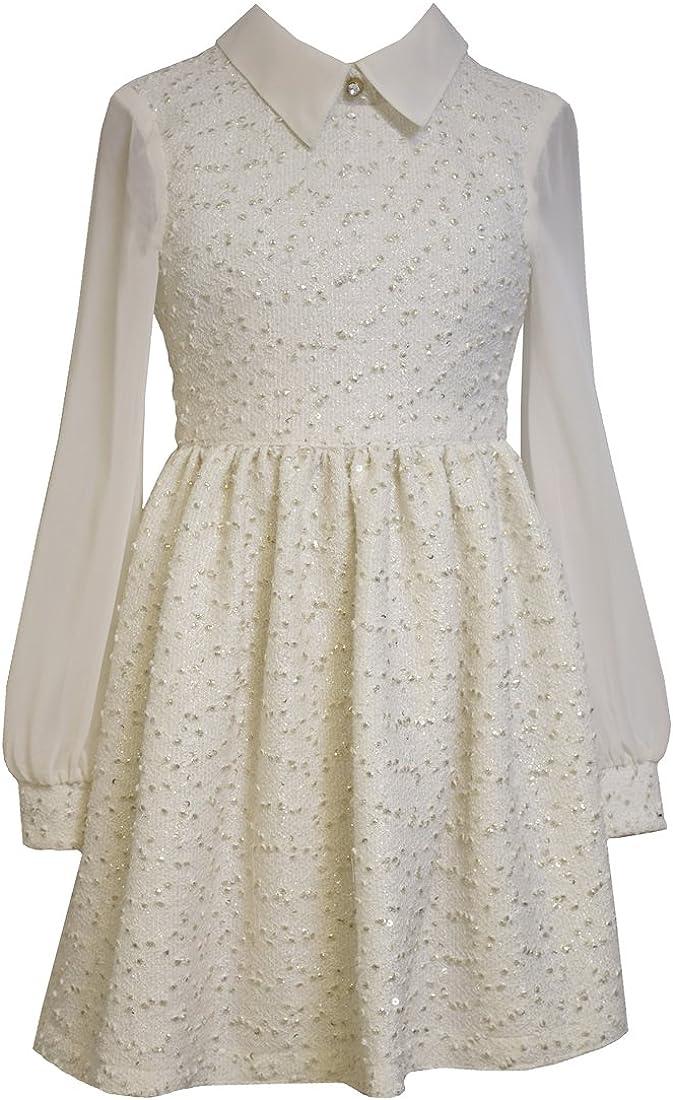 Big Girls Tween Ivory Gold Foil Knit Boucle Chiffon Sleeves Dress