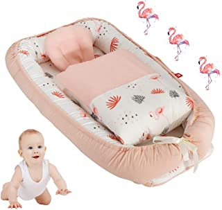 Toys Studio Baby Lounger for Newborn, Cotton Baby Nest, Soft Baby Bassinet for Bed - Portable Breathable Co-Sleeping Cribs for Bedroom Travel (Light Pink Flamingo)