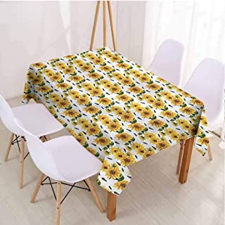 VICWOWONE Decorative Rectangle Tablecloth Sunflower Rectangle Desktop Continuous Blooming Flora,Rectangle - W70 x L120 inch