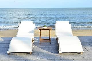 Safavieh 3 Piece Outdoor Collection Pacifica Lounge Set, Teak Brown/Beige