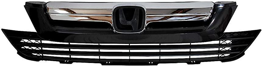 For 2007 2008 2009 Honda CRV   Front Upper Grill + Lower Bumper Grille Replacement   Chrome ABS   by AutoModed