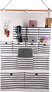 VIVIMONKEY Hanging Organizer with Pockets Fabric Wall Door Storage Home Cloth Closet Organizing Bags - Blue Stripe (12 Pockets with Pothook)