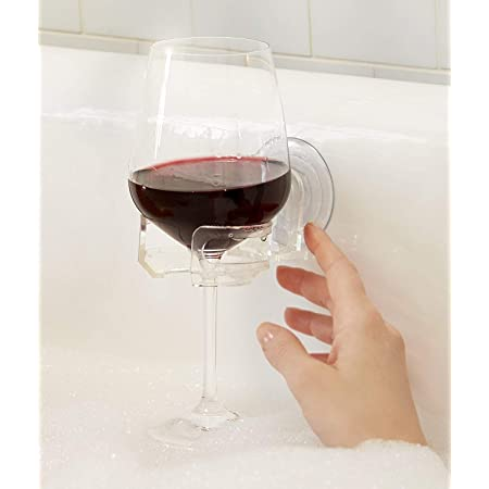 LLguz Plastic Wine Glass Holder Self-Adhesives Cup Rack for Shower Bathroom,Shipped from USA,6.4x4x0.2 Inch Gray