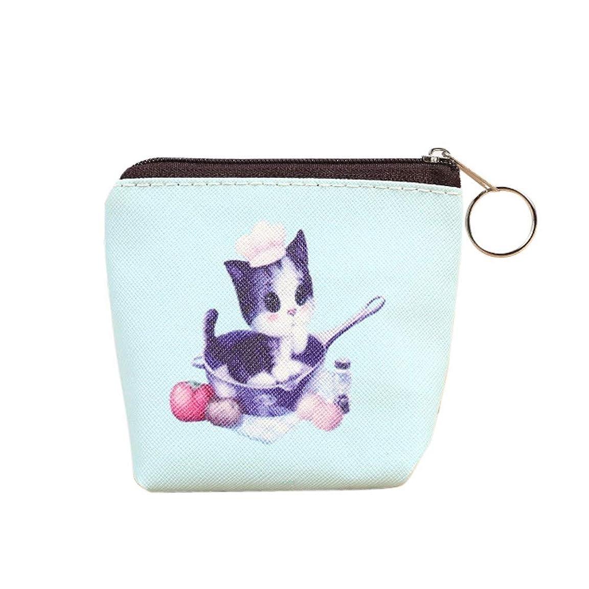 皿隙間戦術かわいい猫の財布女性の女の子の革ジップ小銭入れキーカードバッグレディ財布 (C)