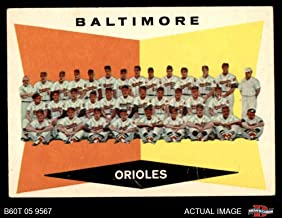 1960 Topps # 494 Orioles Team Checklist Baltimore Orioles (Baseball Card) Dean's Cards 5 - EX Orioles